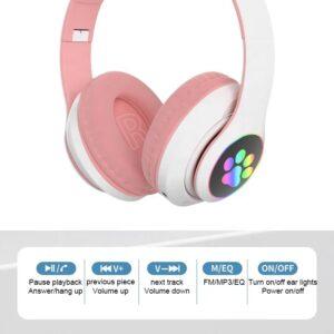 Cute LED Cat Ear Blue tooth HIFI Stereo Bass 3.5mm Plug gaming Headphone (1)