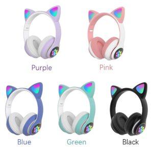 Cute LED Cat Ear Blue tooth HIFI Stereo Bass 3.5mm Plug gaming Headphone (2)