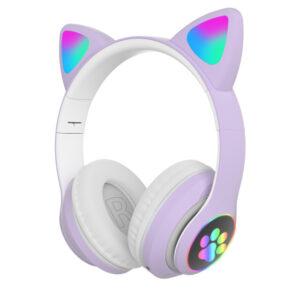 Cute LED Cat Ear Blue tooth HIFI Stereo Bass 3.5mm Plug gaming Headphone (3)