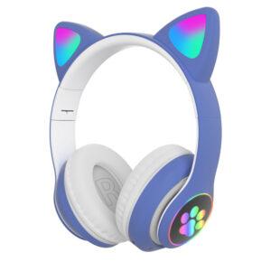 Wireless headband headphones Cute LED Cat Ear Blue tooth (2)